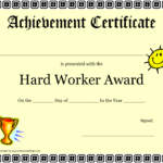 Hard Work Certificate Of Achievement Template Download With Great Work Certificate Template