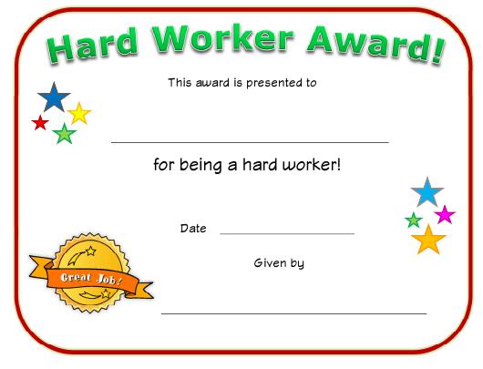 Hard Worker Award Certificate Template Download Printable with Great Work Certificate Template