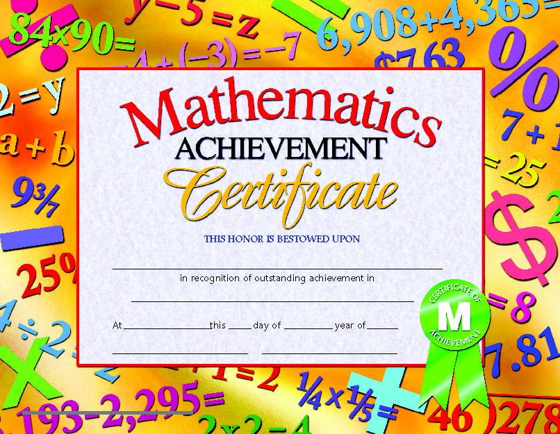 Hayes Mathematics Achievement Certificate, 8-1/2 X 11 In for Math Award Certificate Templates