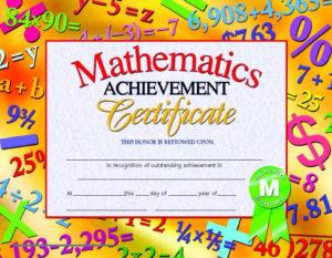 Hayes Mathematics Achievement Certificate, 8 1/2 X 11 In Throughout Math Achievement Certificate Printable