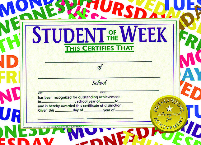 Hayes Student Of The Week Certificate, 11 X 8-1/2 Inches, Paper, Pack Of 30 intended for Unique Student Of The Week Certificate