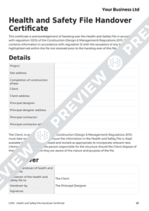 Health And Safety File Handover Certificate Cdm Template within Best Handover Certificate Template