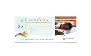Health & Beauty Spa Gift Certificate Template Design throughout Quality Spa Gift Certificate