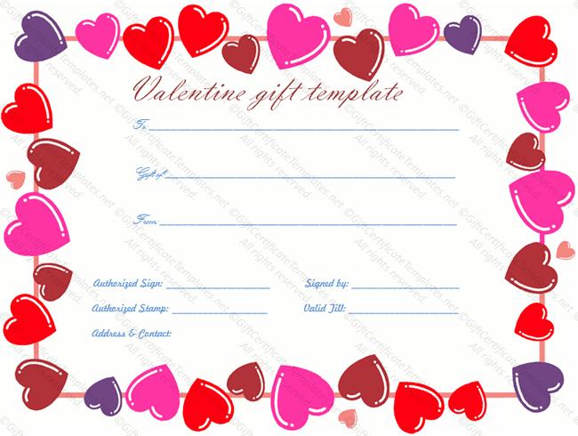 Heart Border Gift Certificate Template - Gift Certificates with New Valentine Gift Certificate Template
