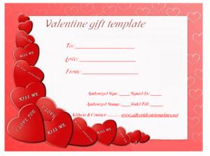 Heart Wish Gift Certificate Template | Gift Certificate pertaining to Valentine Gift Certificate Template