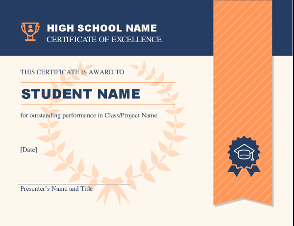 High School Achievement Certificate with Certificate Templates For School