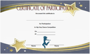Hip Hop Certificate Template Free For Participation In Dance with regard to Hip Hop Dance Certificate Templates