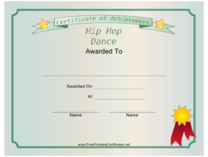 Hip Hop Dance Achievement Certificate Template Download with New Hip Hop Certificate Templates