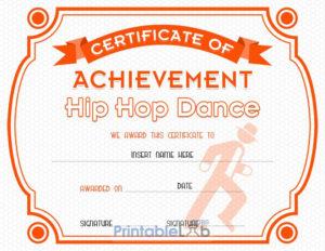 Hip Hop Dance Certificate Format In Blaze Orange, Your Pink throughout Hip Hop Dance Certificate Templates