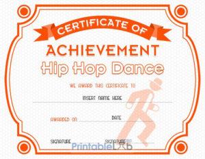 Hip Hop Dance Certificate Format In Blaze Orange, Your Pink with regard to New Hip Hop Certificate Templates