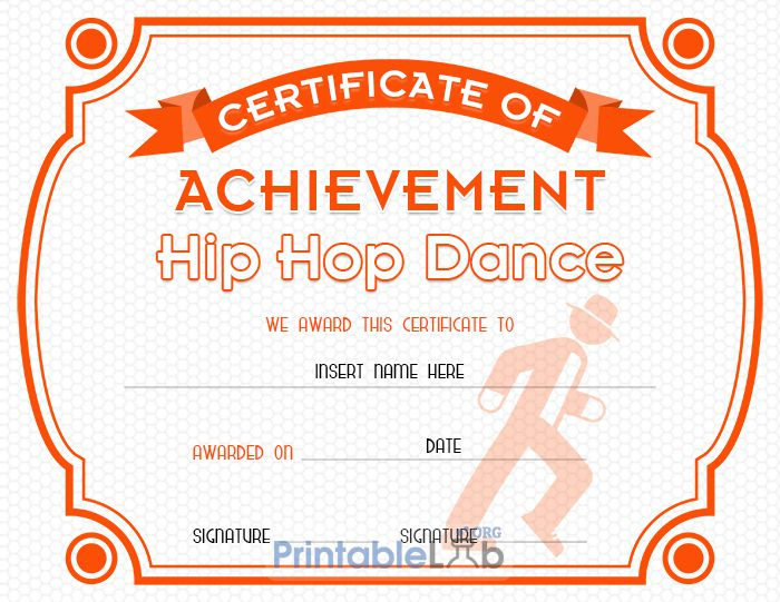 Hip Hop Dance Certificate Format In Blaze Orange, Your Pink within Dance Certificate Template