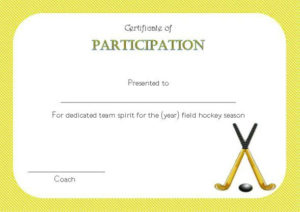 Hockey Certificate Of Participation | Certificate Templates throughout Best Hockey Certificate Templates