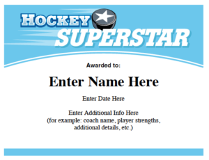 Hockey Certificates Templates | Awards For Hockey Teams within Hockey Certificate Templates
