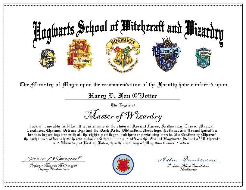 Hogwarts (817×632)   Hogwarts Graduation, Certificate inside Harry Potter Certificate Template