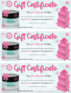 Holiday Central within New Mary Kay Gift Certificate Template