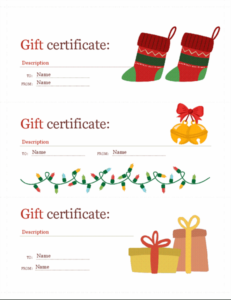 Holiday Gift Certificates (Christmas Spirit Design, 3 Per Page) in Fresh Homemade Christmas Gift Certificates Templates