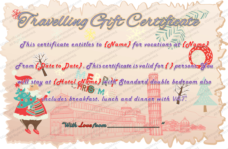 Holiday Travel Gift Certificate Template with Travel Gift Certificate Editable