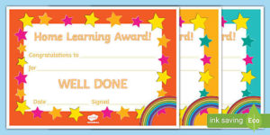 Home Learning Award Certificate pertaining to Good Behaviour Certificate Template 10 Kids Awards