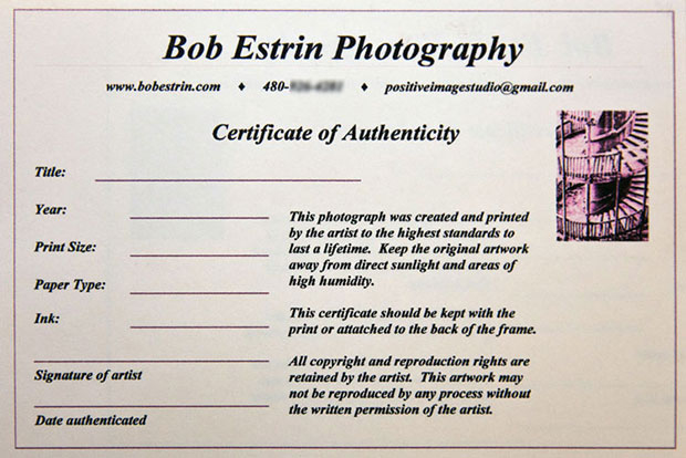 How To Create A Certificate Of Authenticity For Your Photography Throughout Certificate Of Authenticity Photography Template