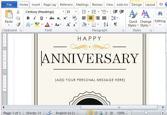 How To Create A Printable Anniversary Gift Certificate with regard to Anniversary Gift Certificate Template Free