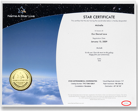 How To Download Your Launch Certificate - Name A Star Live with regard to Unique Star Naming Certificate Template