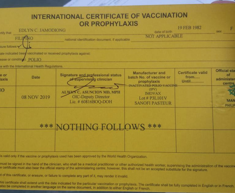 How To Get An International Certificate Of Vaccination For throughout Certificate Of Vaccination Template
