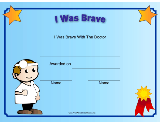 I Was Brave At The Doctor Printable Certificate | Free within New Bravery Certificate Templates