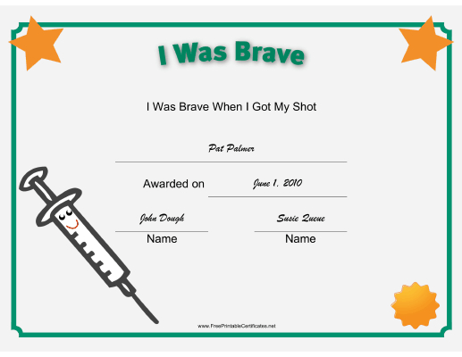 I Was Brave Shot Printable Certificate | Vacation Bible pertaining to New Bravery Certificate Templates