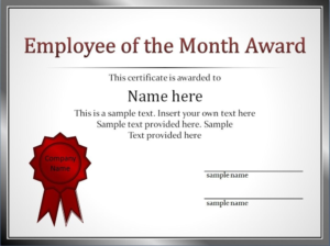 Impressive Employee Of The Month Award And Certificate intended for Fresh Manager Of The Month Certificate Template