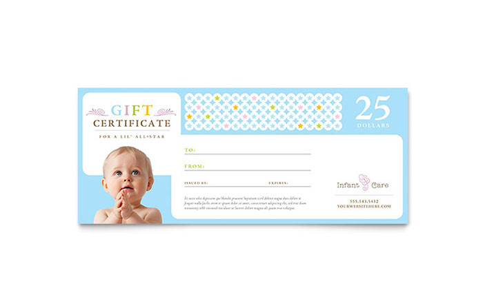 Infant Care & Babysitting Gift Certificate Template Design inside New Babysitting Gift Certificate Template