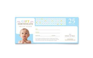 Infant Care & Babysitting Gift Certificate Template Design within Babysitting Certificate Template