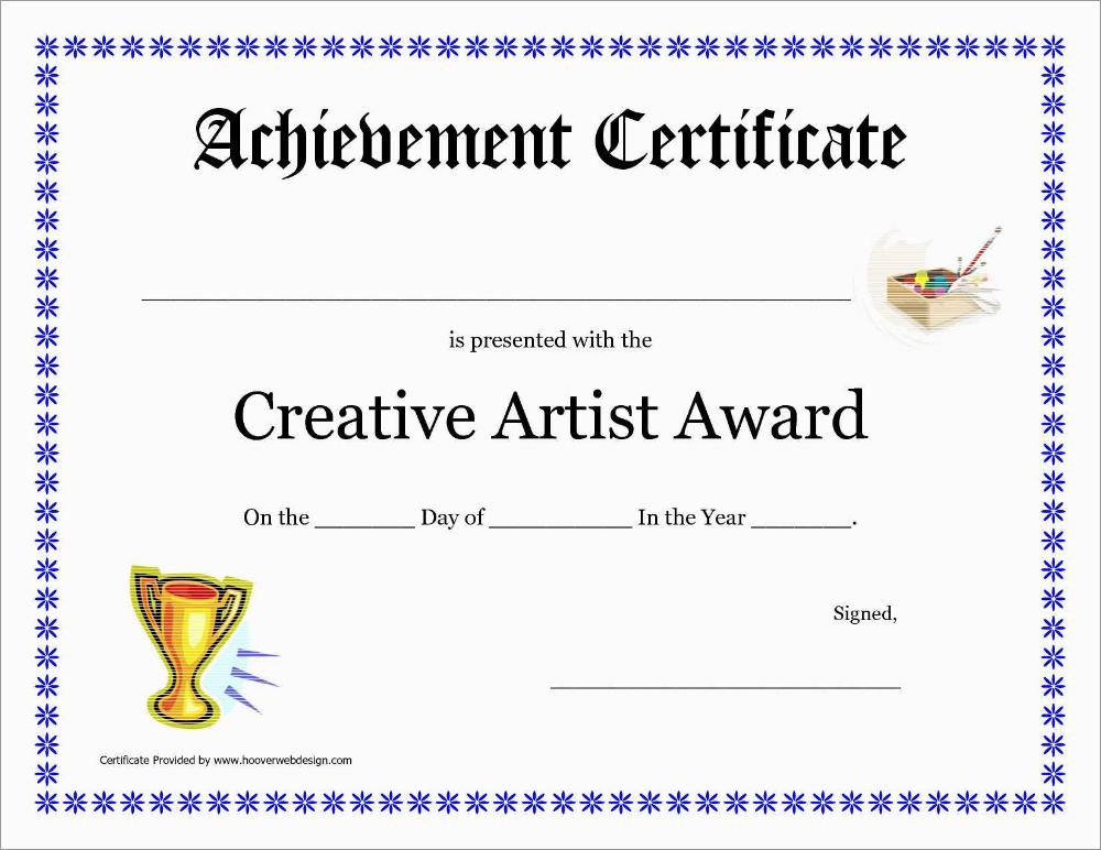 Inspirational Award Certificate Template Free Best Of pertaining to Quality Art Award Certificate Free Download 10 Concepts