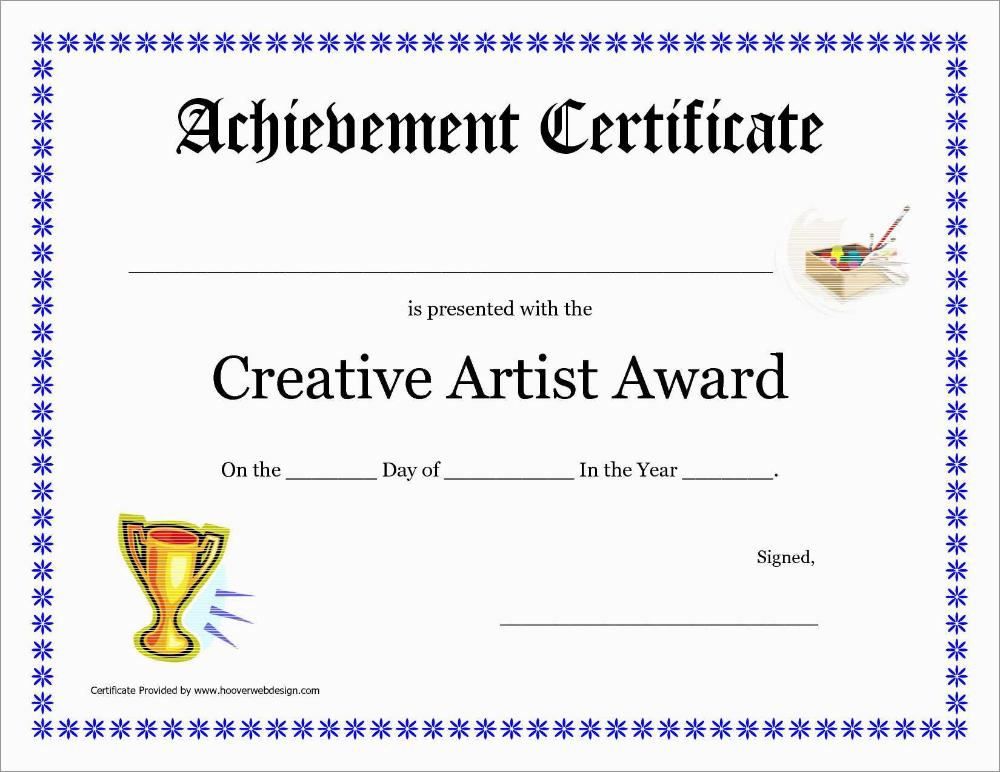 Inspirational Award Certificate Template Free Best Of within Art Award Certificate Template