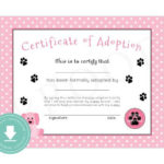 Instant Download Puppy Adoption Certificate (Puppy Birthday Regarding Unique Pet Birth Certificate Template 24 Choices