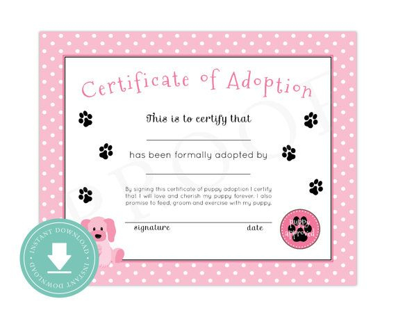 Instant Download Puppy Adoption Certificate (Puppy Birthday regarding Unique Pet Birth Certificate Template 24 Choices