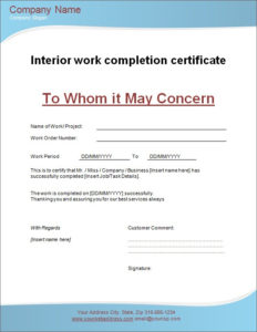 Interior Work Completion Certificate   Microsoft Word for Best Certificate Template For Project Completion