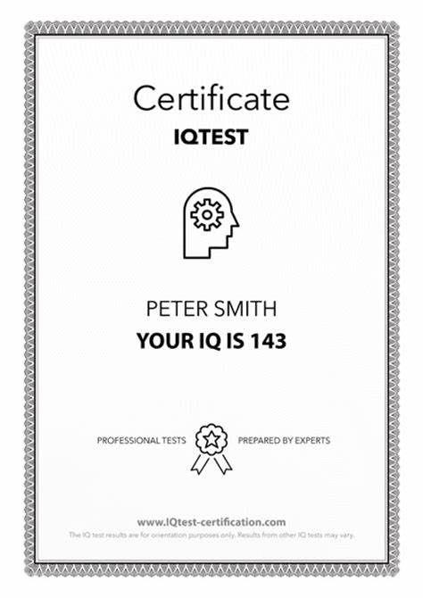 Iq Certificate Template | Certificate Templates, Certificate for Iq Certificate Template