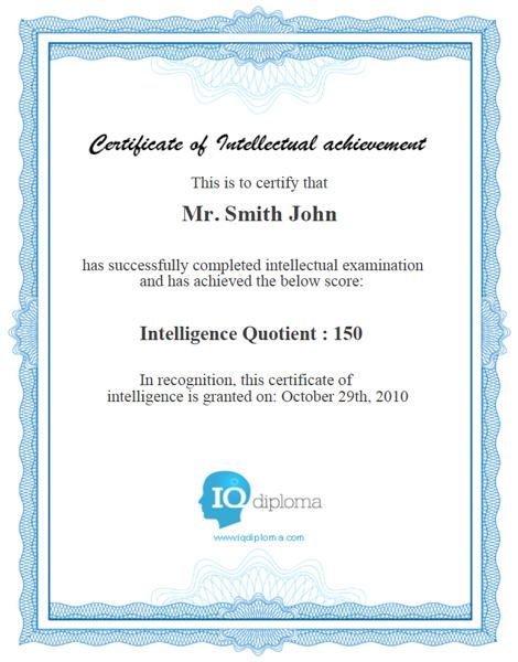 Iq Diploma - Free Iq Test   Iq Certification   High Iq Score in Quality Iq Certificate Template