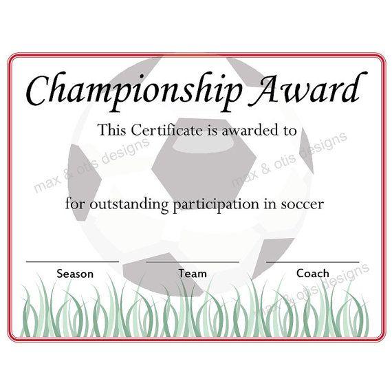 Items Similar To Soccer Championship Award Certificate On for Unique Certificate Of Championship