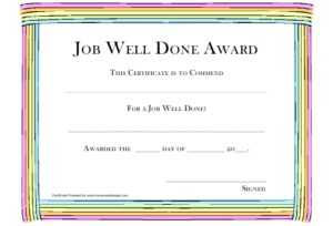 Job Well Done Award Certificate Template Download Printable for Unique Well Done Certificate Template