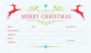 Jumping Reindeers Christmas Gift Certificate – Doc Formats throughout Fresh Merry Christmas Gift Certificate Templates