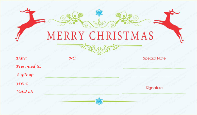 Jumping Reindeers Christmas Gift Certificate - Doc Formats throughout Fresh Merry Christmas Gift Certificate Templates