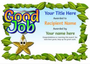 Junior School Certificates – Free Certificate Templates regarding Good Job Certificate Template