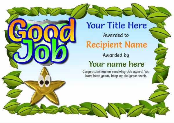 Junior School Certificates - Free Certificate Templates regarding Good Job Certificate Template