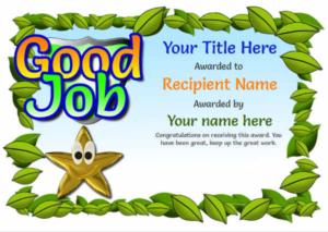 Junior School Certificates – Free Certificate Templates With for Good Job Certificate Template Free