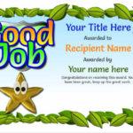Junior School Certificates – Free Certificate Templates With Great Work Certificate Template