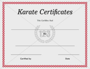Karate Certificate Templates Free And Premium for New Karate Certificate Template