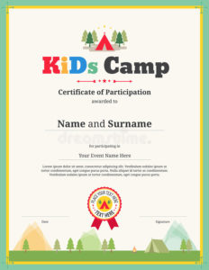 Kids Certificate Template In Vector For Camping with regard to Summer Camp Certificate Template