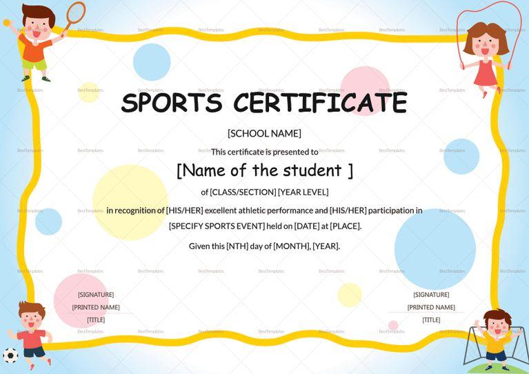 Kids Sports Participation Certificate Template | Certificate Throughout Fresh Sports Day Certificate Templates