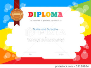 Kids Summer Camp Diploma Or Certificate Template – Stock throughout Fresh Summer Camp Certificate Template
